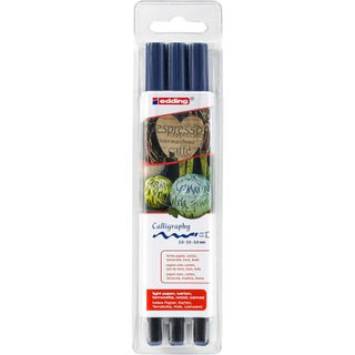 Edding / Calligraphy marker set, pigment ink, beveled nib, 2, 3.5, 5 mm, 3 pieces Sapphire