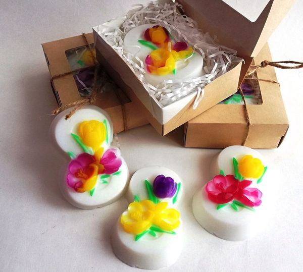 Handmade soap on 8 March with White flowers - mix colors