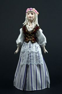 Doll gift porcelain. Snow white. Fairy tale character.