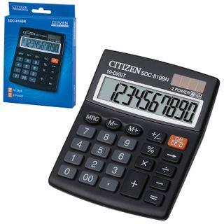 Desktop calculator CITIZEN SDC-810BN, COMPACT (124x102 mm), 10 digits, dual power supply