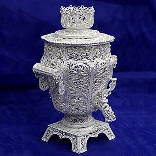 "Souvenir ""Small Samovar"", Kazakov filigree, silver plated"