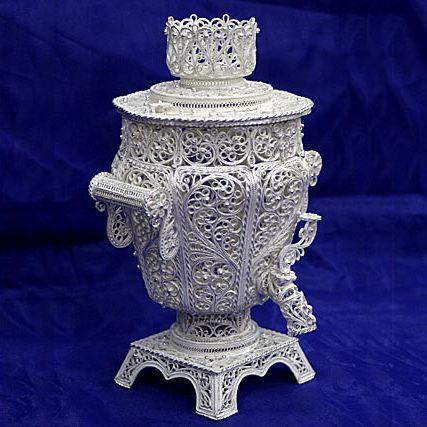 Souvenir 'Samovar small' silvering, Kazakovo Filigree