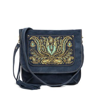 "Suede bag ""Irida"" in dark blue with gold embroidery"