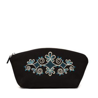 Spring mood cosmetic bag black with blue details in the pattern