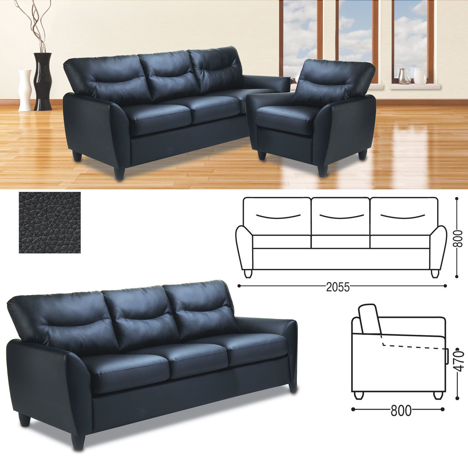 """RAMART / Sofa soft three-seater """"Napoli"""", 800x2055x800 mm, with armrests, eco-leather, black"""