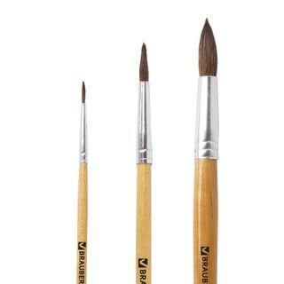 BRAUBERG brushes, set of 3 PCs (made of cloth pony round No. 2, 4, 7), blister