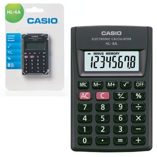 Pocket calculator CASIO HL-4A-S, COMPACT (87x56x8.6 mm), 8 digits, battery powered, black