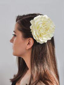 Hair clip brooch rose lemon