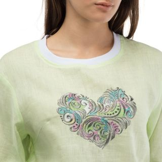 "Blouse female ""Style"" green with silk embroidery heart"