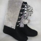 Fur boots  Women's with lacing and fur trim