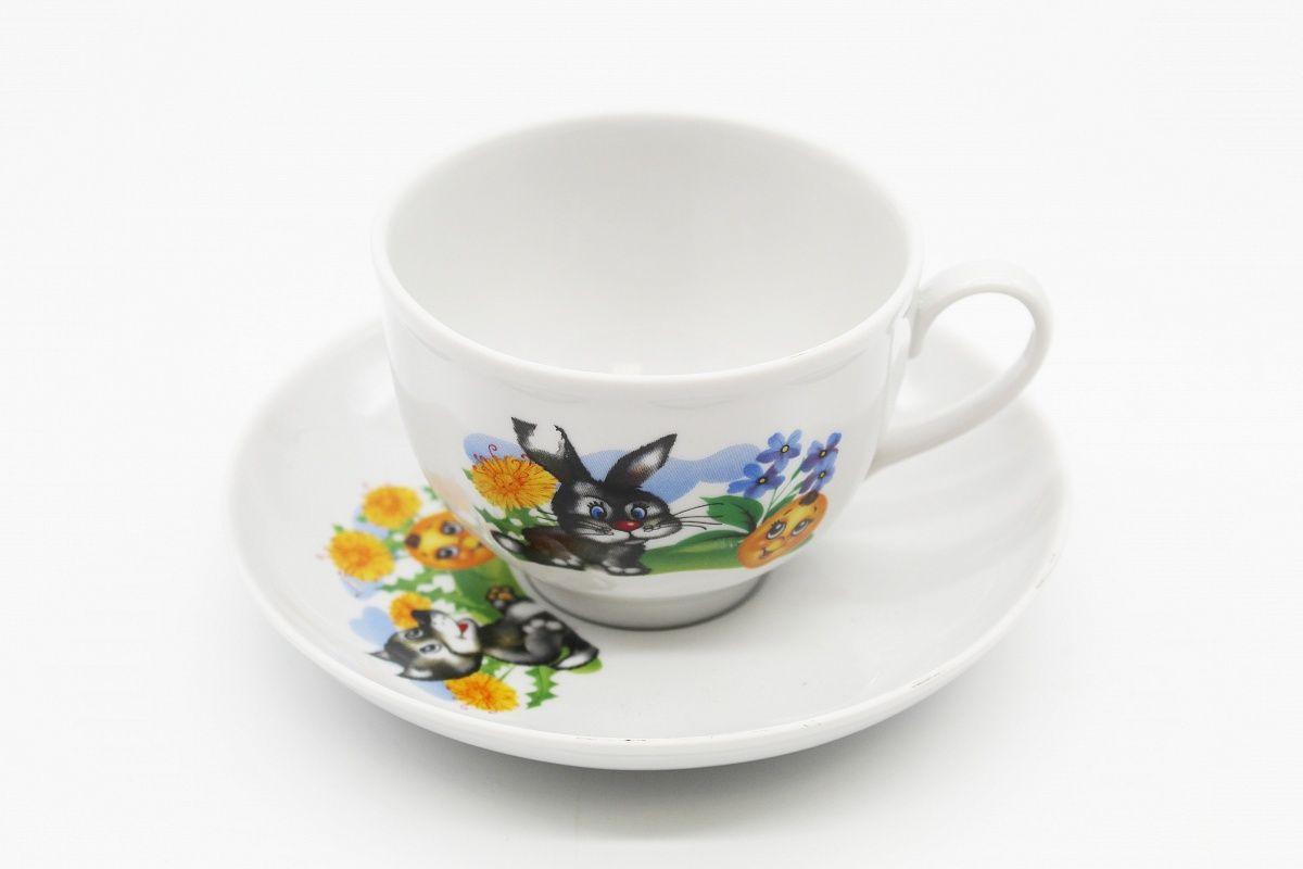Dulevo porcelain / Tea cup and saucer set, 12 pcs., 275 ml Pomegranate The Adventures of Kolobok