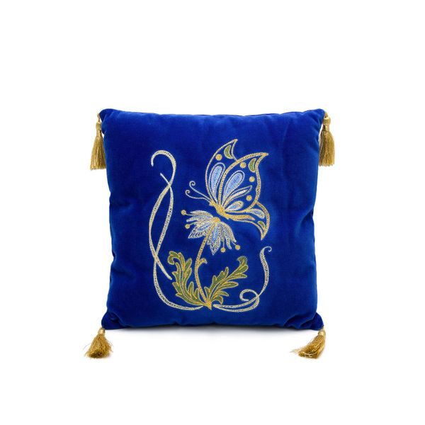 Cushion divan 'In the meadow' blue color with Golden embroidery