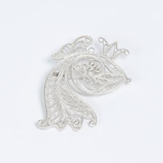 "Kazakovskaya Filigree / Brooch ""Fish No. 2"" silvering"