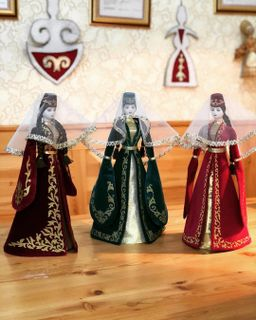 Ossetian doll in velvet suit and the colors in the range, Asik, 55 cm