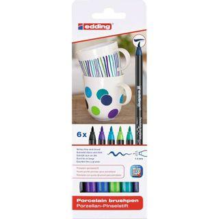 Edding / Ceramic marker pen set, brush nib, 1-4 mm, 6 cold colors 6 colors