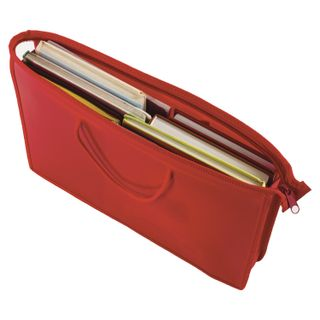 The zip folder with handles PYTHAGORAS, A4, plastic, zipper top, plain red