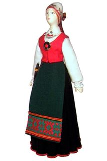 Doll gift. Estonian women's costume ser. 19th century. Region: Tartumaa.