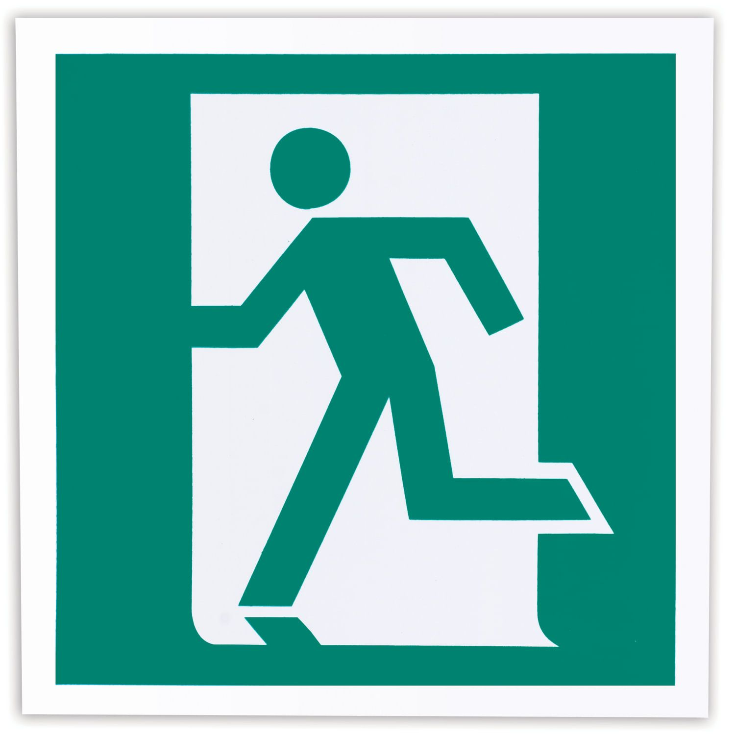 """Evacuation sign """"Exit here (left-handed)"""", 200x200 mm, self-adhesive, photoluminescent"""