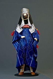 "Porcelain doll a gift ""the Arab. Saudi Arabia"" porcelain, textiles, cardboard, handmade"
