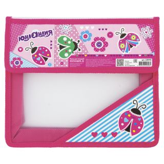 Folder for notebooks INLANDIA, A5, 2 compartments, plastic, Velcro flap,