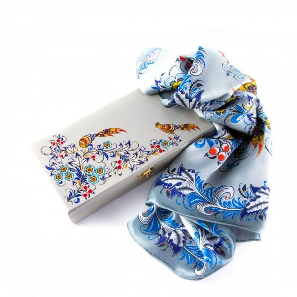 Silk scarf in gift box 'Frosty morning'