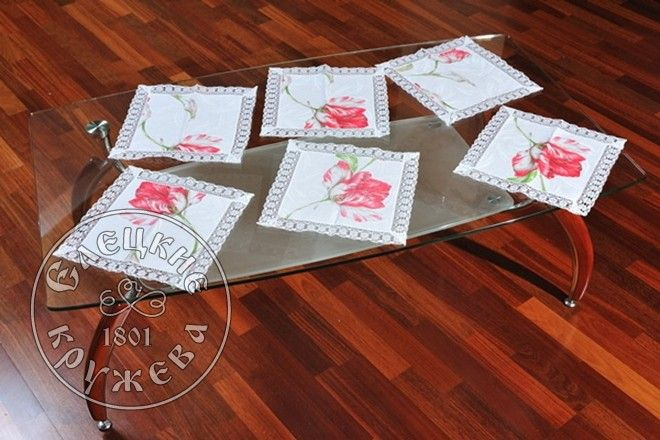 Yelets lace / Linen table napkin С1850БЦ