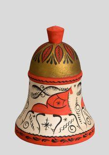 """Salt shaker wooden """"Mezenskaya Rospis"""" height 8.5 cm"""