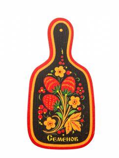 """Khokhloma painting / Wooden magnet """"Plank"""""""