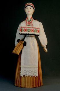 Doll gift porcelain. Estland lips. Russia. Estonian women's costume. Late 19th-early 20th century.