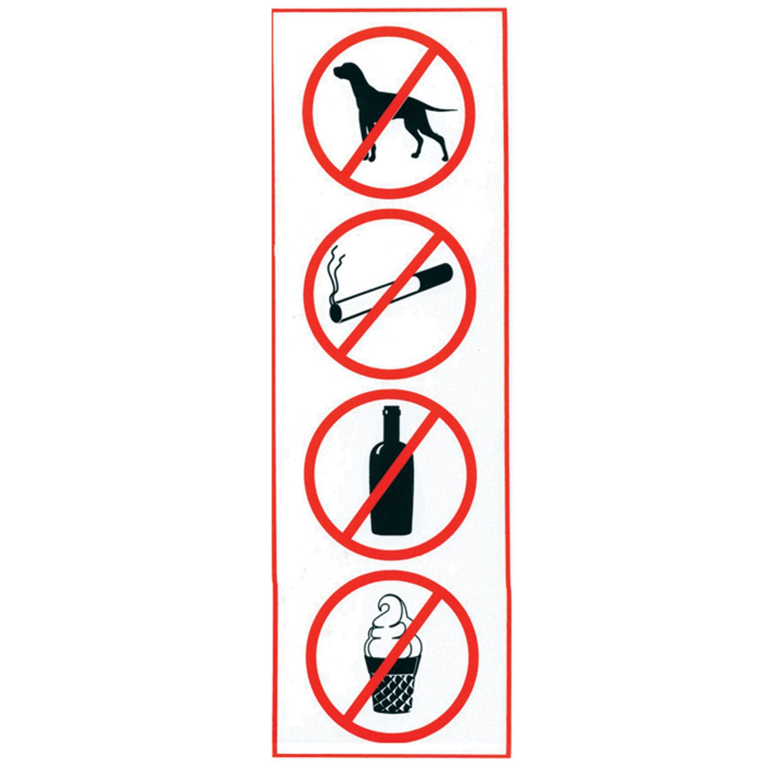 """Sign """"Prohibition: smoking, drinking, eating, aisle with animals"""", rectangle, 300x100 mm, self-adhesive"""