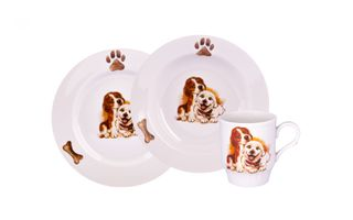 Dulevo porcelain / A set of dishes 3 ave.Puppies (vol. 200 mm chalk, te. Depth 200 mm, mug 210 ml Russian Field) and