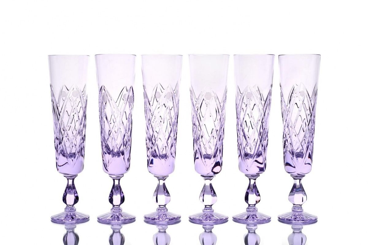 "Set of crystal glasses ""Rio"" neodymium 6 pieces"