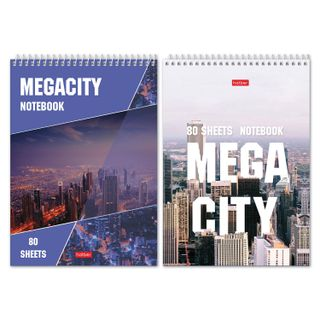 HATBER / Megacity notebook, 80 sheets A5 (145x205 mm), comb, cardboard, rigid backing, cage