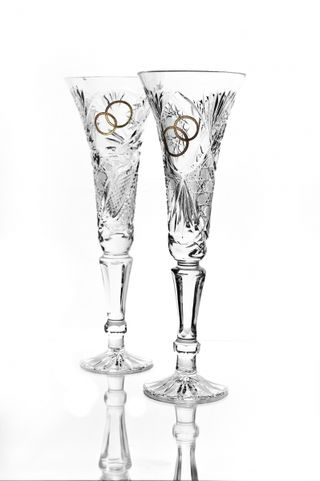 "A set of crystal glasses ""Leipzig"" colorless with gold 2 pieces"