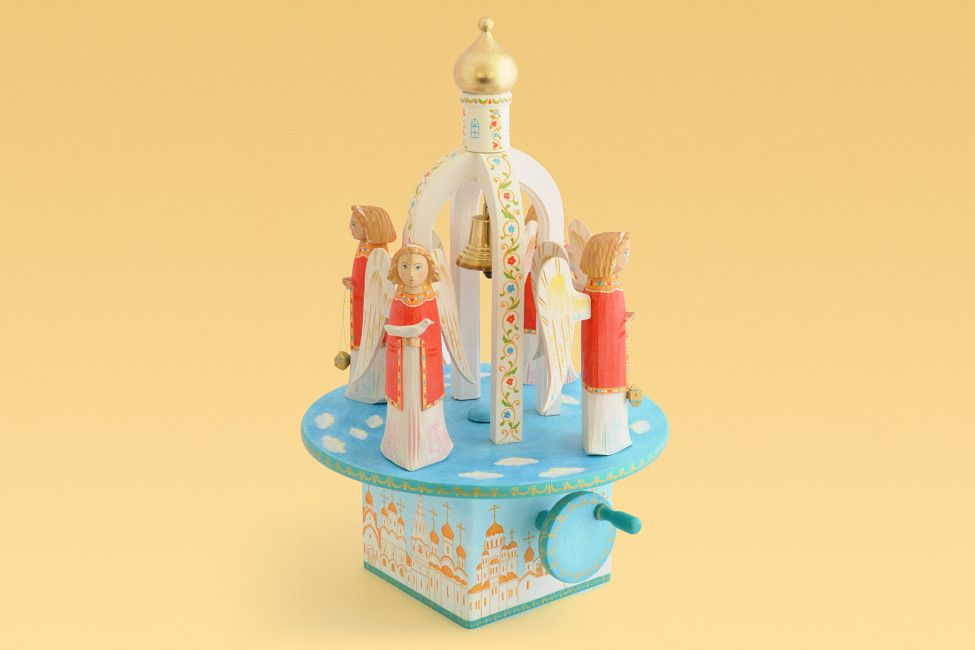 Angels carousel wooden toy