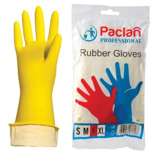 PACLAN / Latex household gloves Professional, cotton spraying, size L (large), yellow