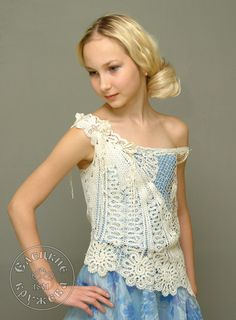 Blouse female lace one-shoulder