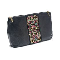 Leather cosmetic bag 'Rainbow mood' of black color with Golden embroidery