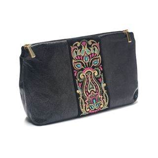 "Leather cosmetic bag ""Rainbow mood"" of black color with Golden embroidery"