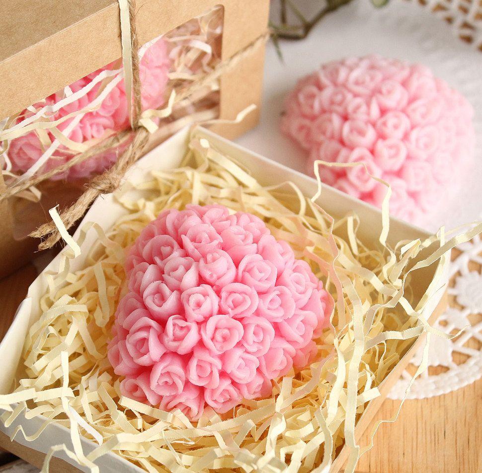 Pink rose heart - olive handmade soap