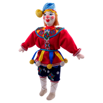 Christmas toy made of porcelain minstrel in traditional costume, 18 cm