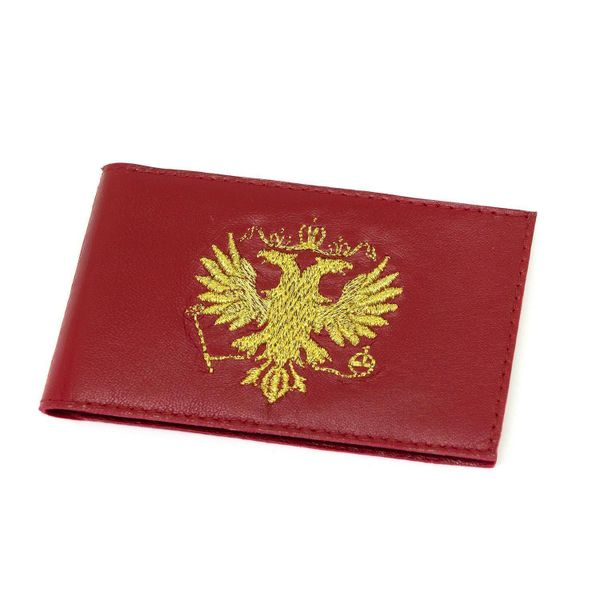 Business card holder 'eagle' red color with Golden embroidery