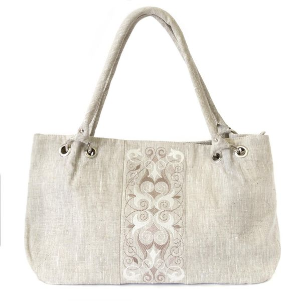 Linen bag 'violet' grey, with silk embroidery