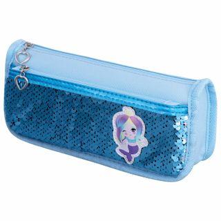 Pencil case-cosmetic bag INLANDIA, 2 branches, soft, sequined, mermaid, blue, 21х6х9 cm