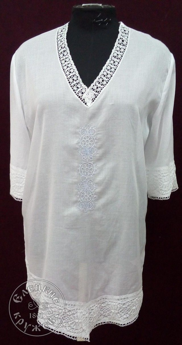 Yelets lace / Women's linen tunic with embroidery