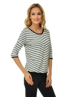 Sweater with diagonal black and white stripe
