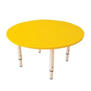 Children's round table, 800 x800 x400-580 mm, adjustable, height 0-3 (85-145 cm), yellow plastic, ivory
