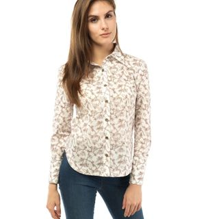 "Blouse female ""Flora"" on buttons with a flower pattern"
