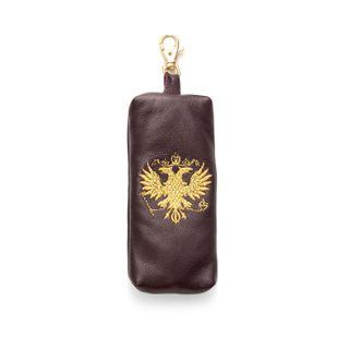 "Leather keychain ""eagle"" in purple color with Golden embroidery"