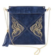 Suede bag Butterfly blue with gold embroidery